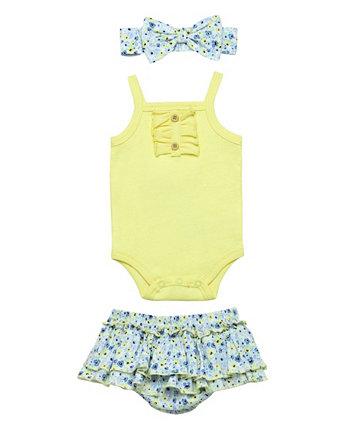 Комплект из 3 подгузников с оборками и цветочным принтом для маленьких девочек Baby Starters