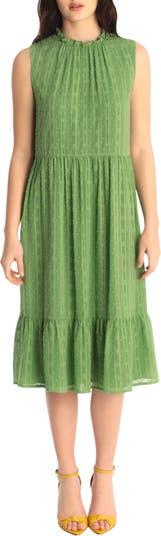 Ruffle Trim Clip Dot Lace Midi Dress Maggy London