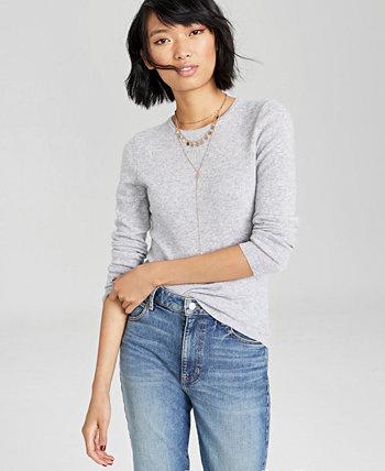Кашемировый свитер с круглым вырезом в стандартном и миниатюрном стиле, созданный для Macy's Charter Club