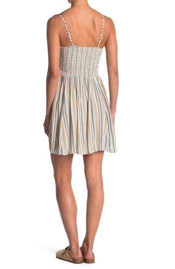 Полосатое платье со сборками на лифе Angie