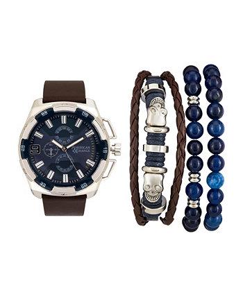 Мужские коричневые аналоговые кварцевые часы и праздничный набор American Exchange