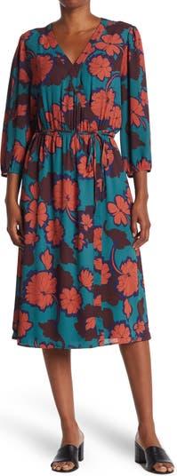 Faux Wap Printed Midi Dress Daniel Rainn