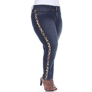 Plus Size White Mark Animal Print Super Stretch Jeans White Mark