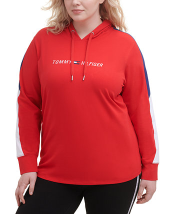 Plus Size Colorblock-Sleeve Hooded Top Tommy Hilfiger