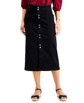 Petite Denim Midi Skirt, Created for Macy's Style & Co