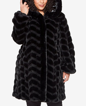 Plus Size Hooded Chevron Faux-Fur Coat, Created for Macy's Jones New York