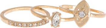Украшенные кристаллами кольца Marqius - набор из 3 шт. Melrose and Market