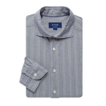 Contemporary-Fit Striped Dress Shirt Eton