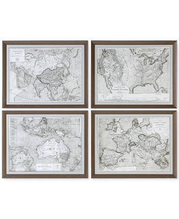 Карты Мира 4 шт. Картины для стен с принтом в рамке Uttermost