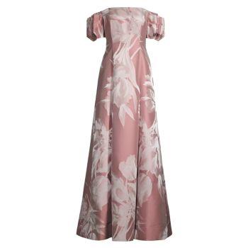 Жаккардовое платье с открытыми плечами и цветочным принтом Aidan Mattox
