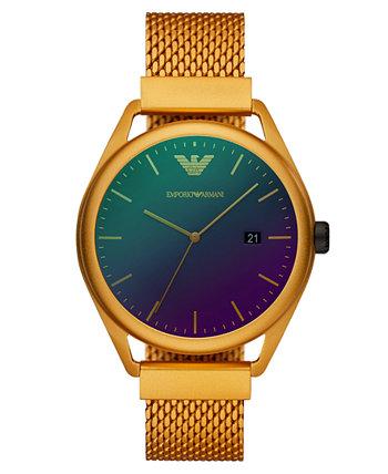 Мужские желтые часы с алюминиевым браслетом, 43 мм Emporio Armani