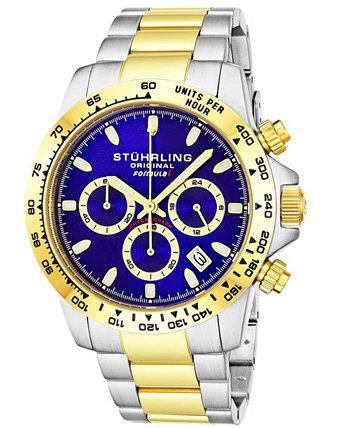 Мужские кварцевые часы с хронографом серебристого цвета с браслетом из нержавеющей стали, 42 мм Stuhrling