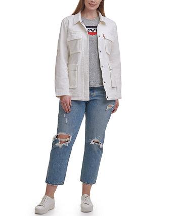 Модная куртка-рубашка среднего размера с хлопковым поясом и поясом больших размеров Levi's®