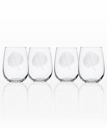 Стакан для вина без ножки с листьями осины 17 унций - набор из 4 стаканов Rolf Glass