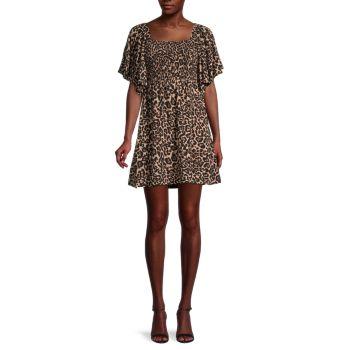 Платье А-силуэта со сборками и леопардовым принтом Atena BAUM UND PFERDGARTEN