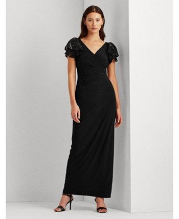 Украшенное платье с рукавами-флаттера, созданное для Macy's Ralph Lauren
