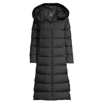 Удлиненное пуховое пальто с отделкой из искусственного меха DONNA KARAN NEW YORK