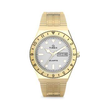 Q Timex Goldtone Stainless Steel Bracelet Watch Timex