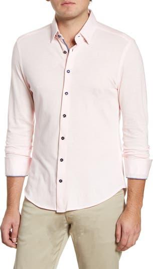 Рубашка зауженного кроя на пуговицах из технологичного трикотажа Stone Rose