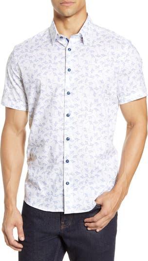 Приталенная рубашка с цветочным принтом и короткими рукавами на пуговицах Stone Rose