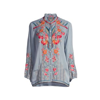 Jude Floral-Embroidered Blouse Johnny Was