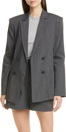 Пиджак из смесового льна в полоску с вырезом на рукавах Isselin Tibi