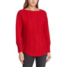 Women's Chaps Braided-Inset Boatneck Sweater CHAPS