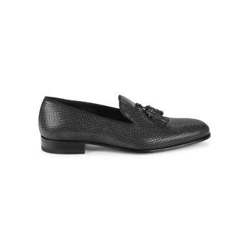 Iguana-Embossed Leather Tassel Loafers Mezlan
