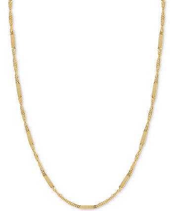 Колье-цепочка с плоской планкой 18 дюймов (1/3 мм) из 14-каратного золота Italian Gold