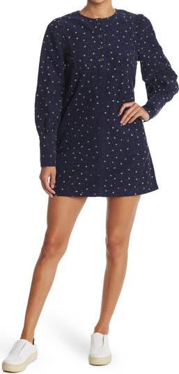 Вельветовое мини-платье с цветочным принтом и длинными рукавами Edie Something Navy