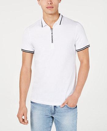 Мужская футболка-поло из хлопкового джерси с фиксированным логотипом Armani Exchange