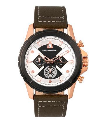 Серия M57, корпус из розового золота, часы с оливковым хронографом и кожаным ремешком, 43 мм Morphic