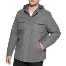 Куртка в стиле милитари Big & Tall Levi's® с капюшоном и четырьмя карманами из смесовой шерсти Levi's®