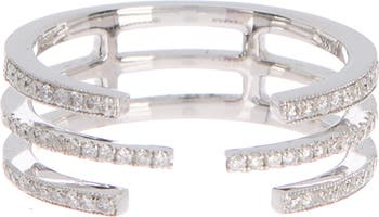 14K White Gold Pave Diamond Open Multi Band Ring - Size 6.5 - 0.25 ctw Meira T