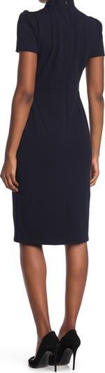 Tie Neck Short Sleeve Crepe Sheath Dress Maggy London
