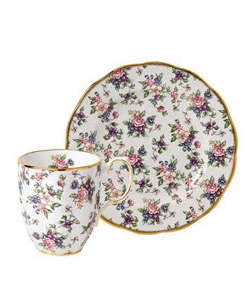 Набор из 2 предметов 100 Years 1940, кружка и тарелка - английский ситец Royal Albert