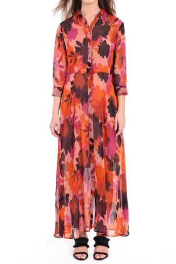 Платье-рубашка макси с принтом Donna Morgan