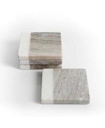 Серо-белый набор мраморных подставок Gibson