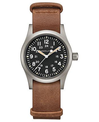 Мужские швейцарские механические часы цвета хаки с коричневым кожаным ремешком 38 мм Hamilton