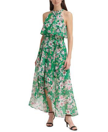 Floral-Print High-Low Chiffon Gown Eliza J