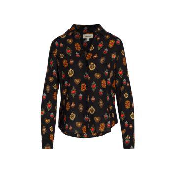 Блуза на пуговицах с принтом Holly L'AGENCE