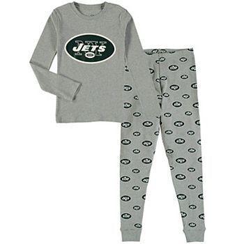 Youth Heathered Gray New York Jets Long Sleeve T-Shirt & Pants Sleep Set Outerstuff