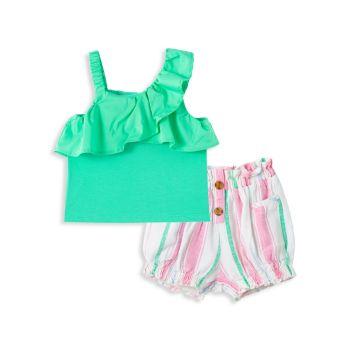 Baby Girl's 2-Piece Ruffle Top & Striped Bubble Shorts Set