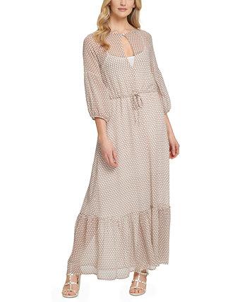 Макси-платье в крестьянском стиле с принтом Keyhole DKNY