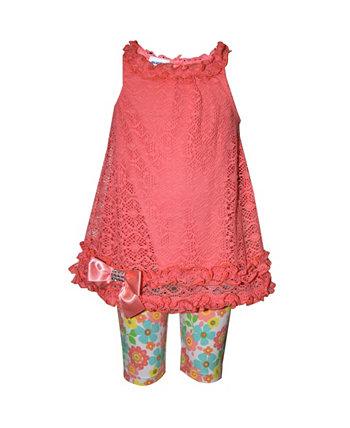 Кружевной топ из двух частей для маленьких девочек и джеггинсы с цветочным принтом Blueberi Boulevard