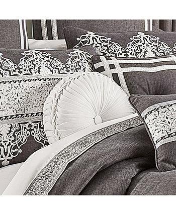 Круглая декоративная декоративная подушка с тафтингом из кремня, 15 дюймов Д X 15 дюймов J Queen New York