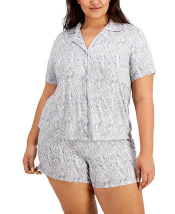 Набор вязаных пижамных шорт с принтом больших размеров INC, созданный для Macy's INC International Concepts