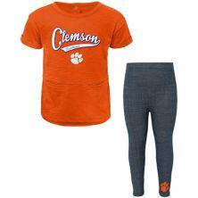 Girls Preschool Orange Clemson Tigers Stadium T-Shirt & Leggings Set Outerstuff