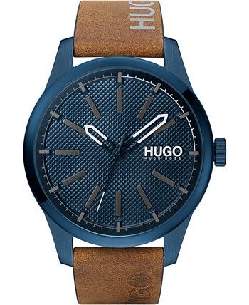 Мужские часы #Invent с коричневым кожаным ремешком, 46 мм HUGO