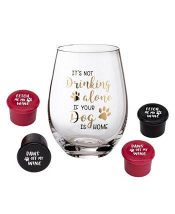 Бокал для вина для любителей собак с забавными высказываниями и 4 пробки для бутылок вина Lillian Rose